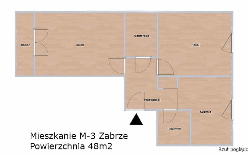 Ładne Mieszkanie M3 ul. 3-Maja Zabrze Do Wynajęcia